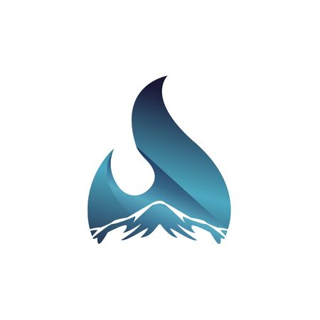 Blue water drop and mountain isolated vector illustration