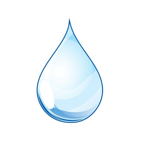 Blue water drop Realistic isolated vector illustration Illustration