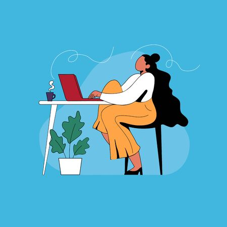 illustration work from home girl with personal computer and chill Illustration