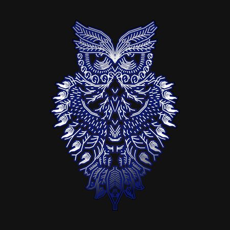 Owl abstract lines art
