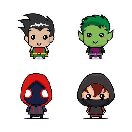 Set of game character design vector