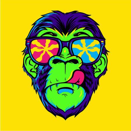 Dope colorful monkey wearing sunglasses design