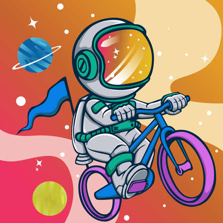 astronauts playing bikes in space design Vectores