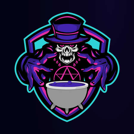 witch with magical potion logo for e-sport