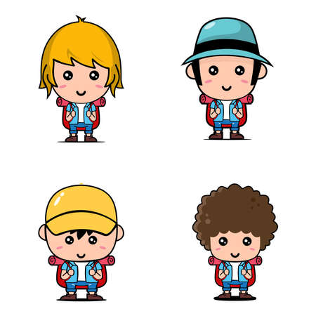 Set of Cute Tourist Characters design