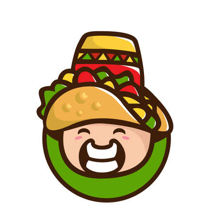 Taco Mascot Cartoon Vector Icon Illustration. Cute Taco Character. Food Icon Concept Isolated.