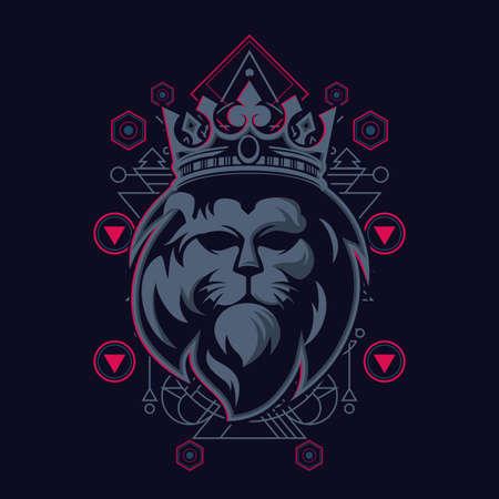 The Lion Sacred Geometry Design 向量圖像