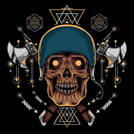 Skull and Ax with Sacred Geometry