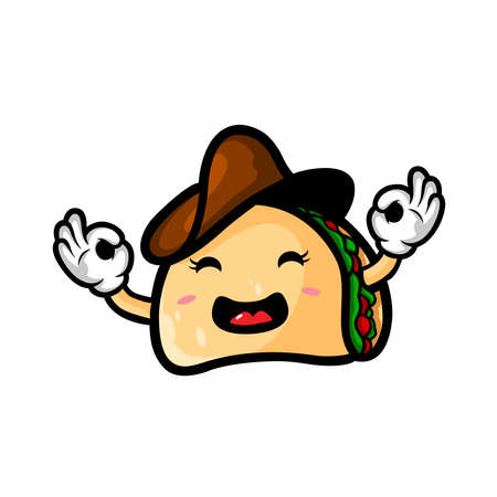Taco wearing Cowboy Hat Mascot Cartoon Vector Icon Illustration. Cute Taco Character. Food Icon Concept Isolated.