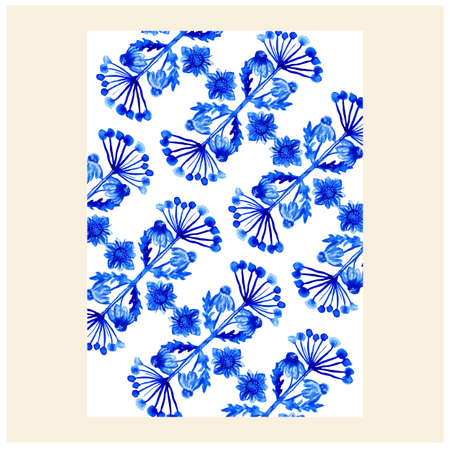 flower pattern. Repeat botanical texture with flowers in blue on white background. Hand drawn. Decorative, cool. Vectores