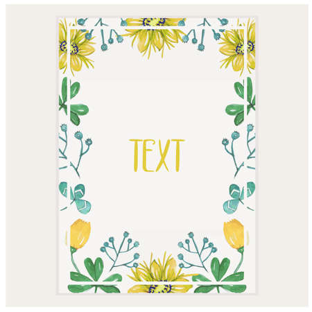Beautiful floral frame wedding invitation card template. flower frame template