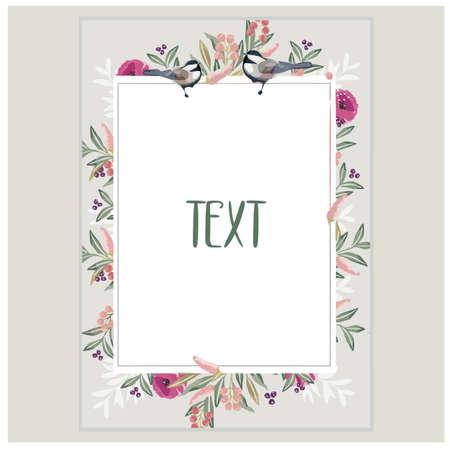 Beautiful floral frame wedding invitation card template. flower frame template