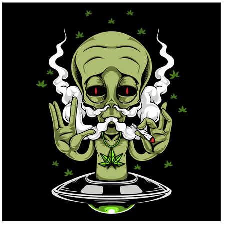 Alien Smoking Weed Design Vector Illustration.