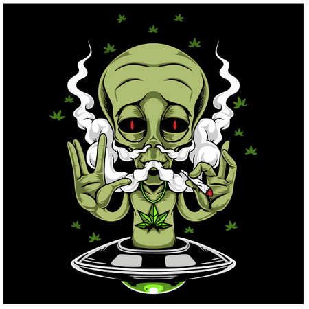 Alien Smoking Weed Design Vector Illustration. Vectores