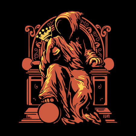 Grim reaper sitting on the throne