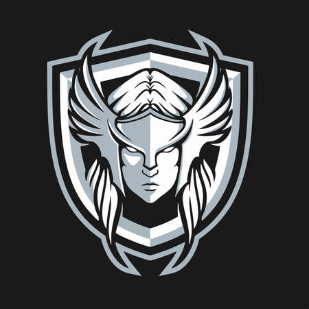 The Valkyrie Warrior and Shield Design Logo Template