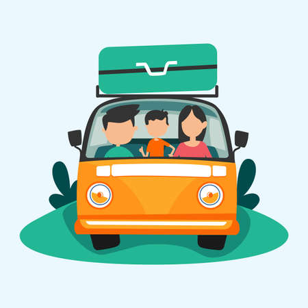 Journey, travel concept. Happy family rides in car on vacation. Cartoon vector illustration
