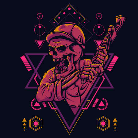 Skull wearing a Helmet holding a wrench In Sacred Geometry