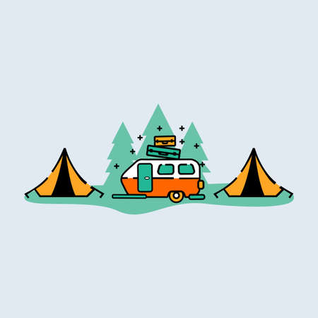 family RV camping caravan. Tourist bus and tent for outdoor recreation and travel. Mobile home truck. Suv. Mountain, auto. Vectores
