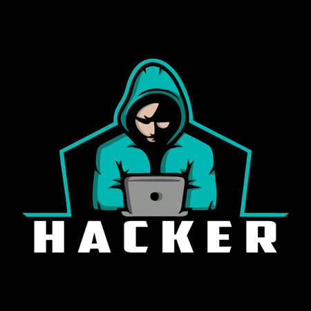 The Hacker Wearing Hoodie Design Logo Template Vectores