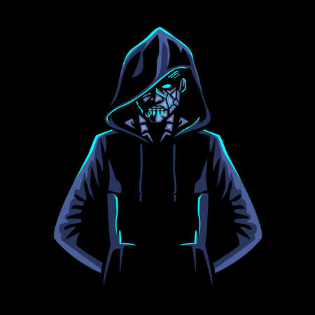 Human Cyborg, Human AI, robot Character wearing hoodie Design Vector  イラスト・ベクター素材