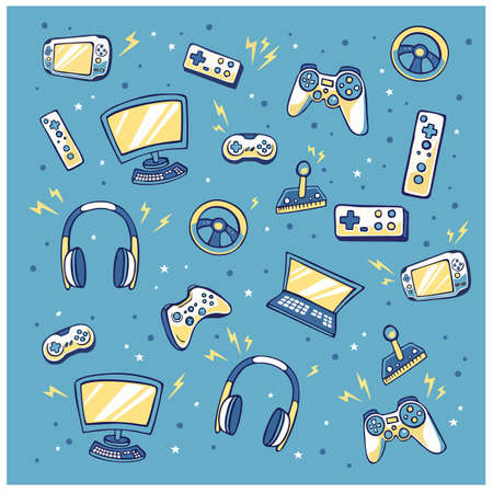 Video game controller background Gadgets and devices seamless pattern