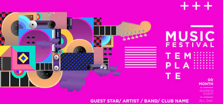 Music Festival Illustration Design for Party and Event. for web, banner, poster design