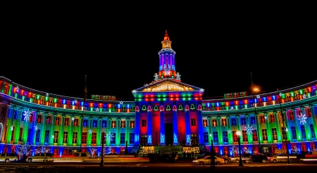 denver city and county building: Denver City and County Building illuminated at night for the holidays