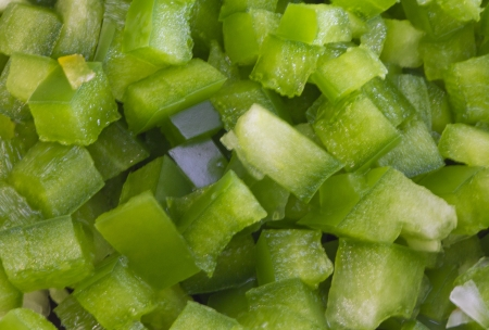 chopped pieces of green pepper photo