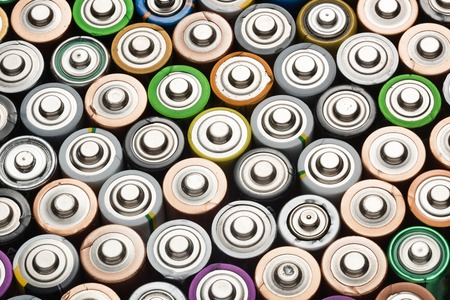 Battery abstract background shot from above close-up