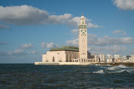 CASABLANCA, MOROCCO - September 3, 2015 - Hassan II mosque stands in the ocean.