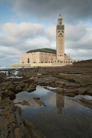 CASABLANCA, MOROCCO - September 11, 2015 - Hassan II Mosque at low tide.