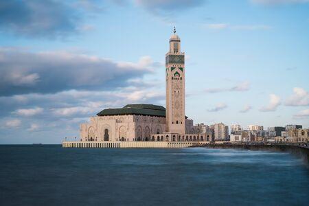 CASABLANCA, MOROCCO - September 3, 2015 - Hassan II mosque stands in the ocean. long exposure.