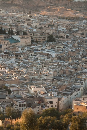Fez, Morocco. View of the old Muslim city from a height.