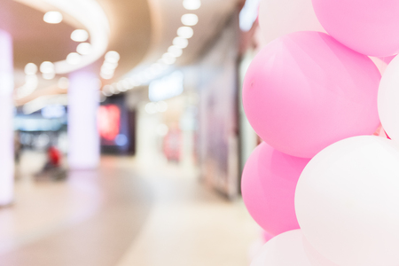 White and Pink Balloons on Defocused Background Imagens