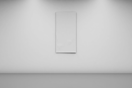 Blank Banner 1 x 2 on a white wall. Vertical banner in an empty room. 3d rendering, front view.