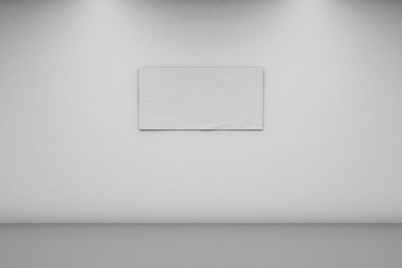 Blank Banner 1 x 2 on a white wall. Horizontal banner in an empty room. 3d rendering, front view. Imagens