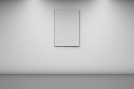 Blank Banner 2 x 3 on a white wall. Vertical banner in an empty room. 3d rendering, front view. Imagens