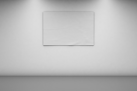 Blank Banner 2 x 3 on a white wall. Horizontal banner in an empty room. 3d rendering, front view. Imagens - 125423256