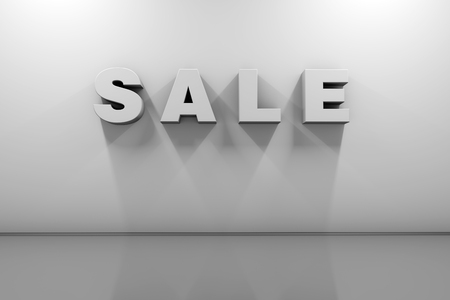 Sale. Volumetric white letters on a white wall with a cool shadow in an empty room. 3d rendering, front view.