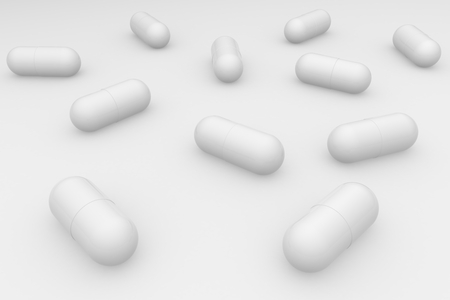 A group of white pills on a white background. Antibiotics in the capsule. 3d rendering