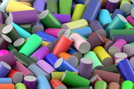 Abstract background of randomly arranged colored glossy cylinder Imagens - 125423348