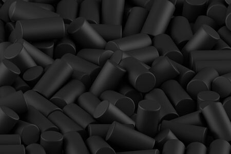 Abstract background of randomly arranged matte cylinders of black. 3d rendering.