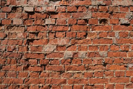 Old brick wall with chipped plaster and hard shadow
