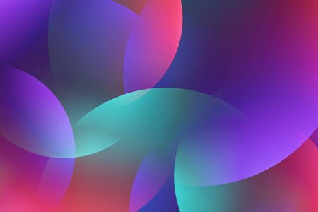 Background from abstract turquoise lilac circles or balls similar to flickering lights in defocus. Gradient shapes composition