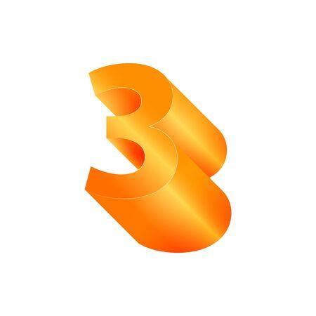 3D number 3. Volumetric orange figure with a metallic sheen.