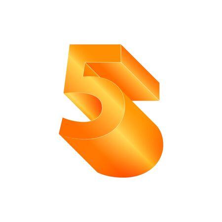 3D number 5. Volumetric orange figure with a metallic sheen Ilustracja