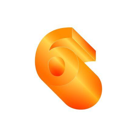 3D number 6. Volumetric orange figure with a metallic sheen