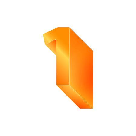 3D number 1. Volumetric orange figure with a metallic sheen. Ilustracja