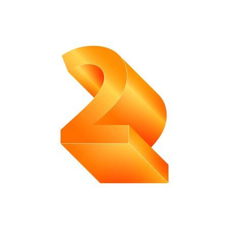 3D number 2. Volumetric orange figure with a metallic sheen